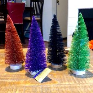 Bottle Brush Halloween Trees Set of Four